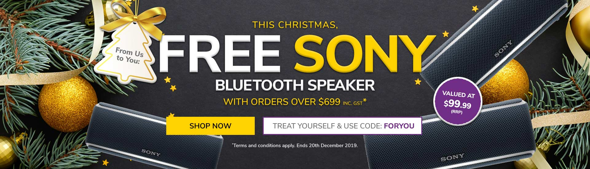 Free Sony Bluetooth Speaker orders Over $699 - ID Warehouse