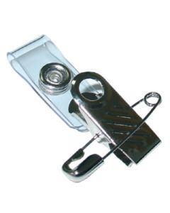 ID Card Strap with 1 Hole Bulldog Clip and Pin Pack 10