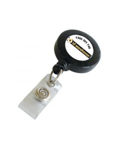 ID Badge Reel with ID Card Strap, Belt Clip, Black, Pack 25