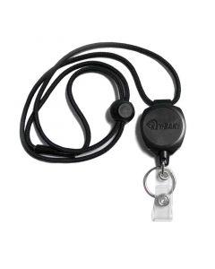 Key-Bak Sidekick ID Badge Reel with Split Ring and ID Card Strap, Lanyard, Black