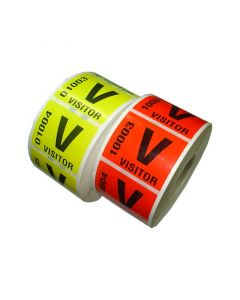 Preprinted Visitor Sequential No. Labels 50mm x 38mm Permanent Roll 220 Labels Fluoro Yellow