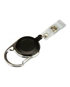 ID Badge Reel with ID Card Strap, Carabiner, Black, Pack 10