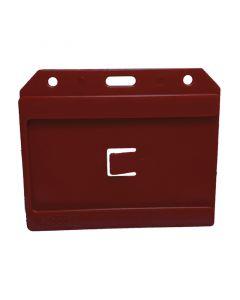 Rigid Dual Side Card Holder, Landscape, Standard Size, Red, Pack 10