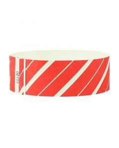 PDC Wristband Tyvek Stripes 25mm Red Pack 500