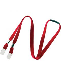Lanyard with Dual Bulldog Clips, Breakaway, 10mm, Red, Pack 100