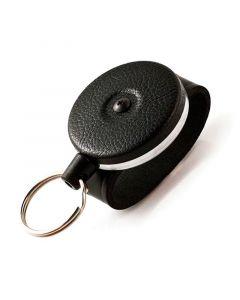 Key-Bak Duty Gear Key Holder Reel with Split Ring, Belt Loop, Black