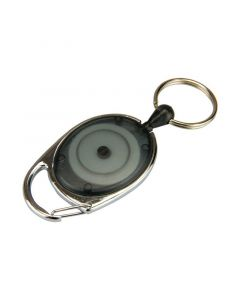 Key Holder Reel with Split Ring, Carabiner, Black, Pack 10