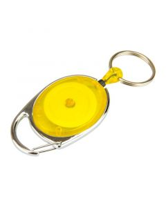Key Holder Reel with Split Ring, Carabiner, Yellow, Pack 10