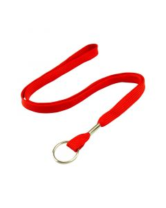 Lanyard with Split Ring, 10mm, Red, Pack 50