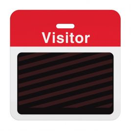 """TEMPbadge Expiry Badge BACK """"VISITOR"""" Red Bar"""