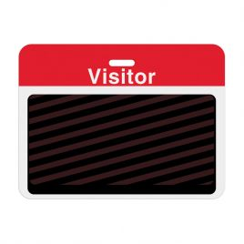 "TEMPbadge Expiry Badge BACK ""VISITOR"" Red Bar Large"