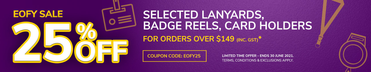 25% off ID Lanyards, Badge Reels & Card Holders, when you shop orders $149+, with ID Warehouse.